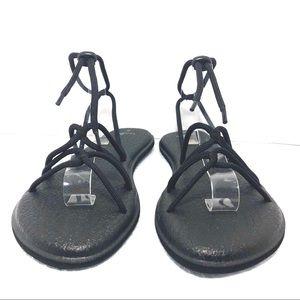 Sanuk Yoga Mat Black Sandals Sz8